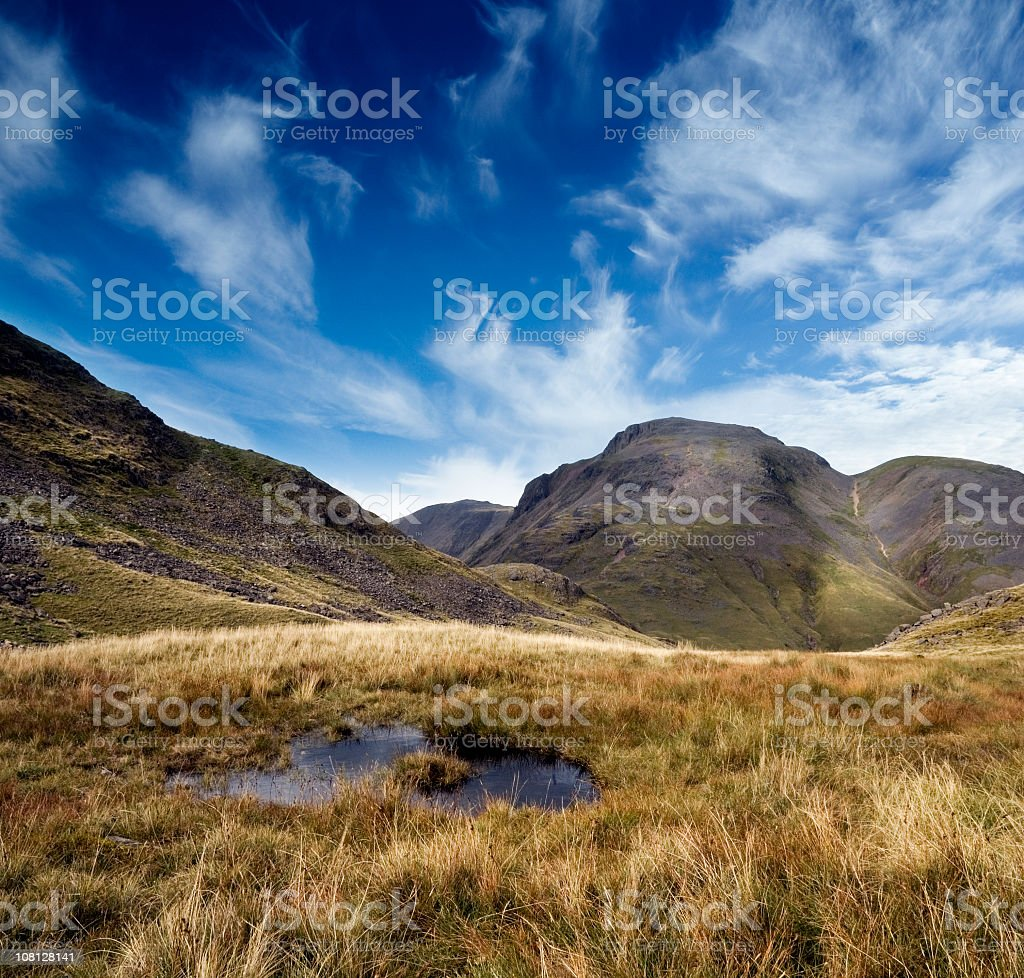 Mountains and Fields in English Lake District stock photo