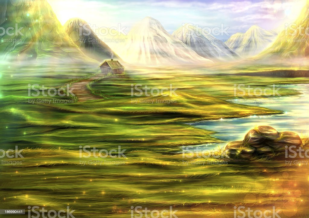 Mountains and fields sunny landscape royalty-free stock photo