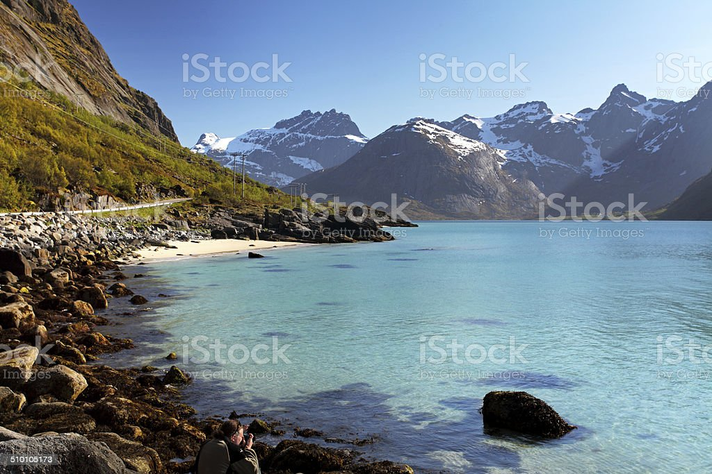 Mountains and fjord in Norway - Lofoten stock photo