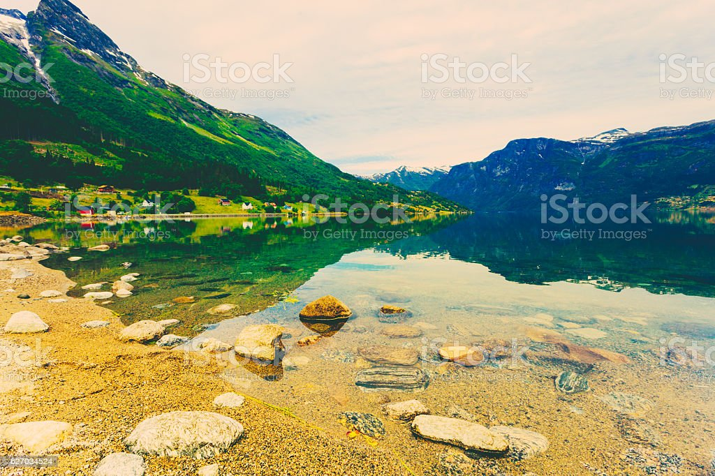 Mountains and fjord in Norway, stock photo