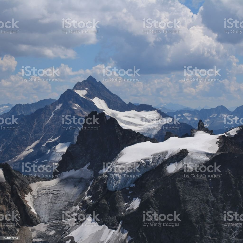 Mountains and glacier seen from mount Titlis stock photo
