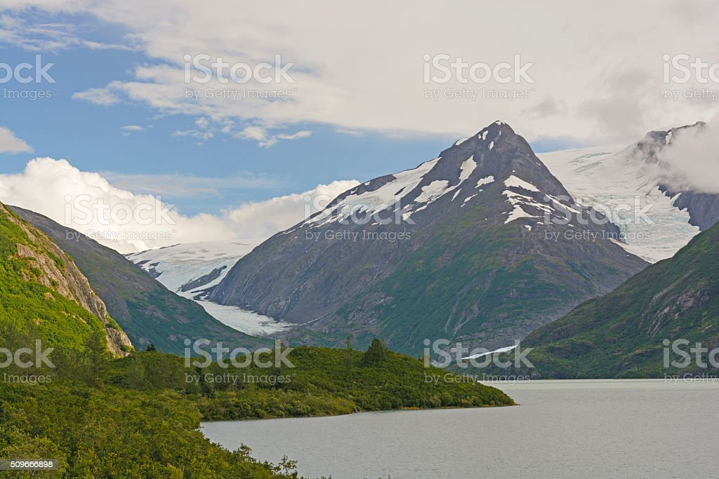 Mountains and Glaciers in a Remote Valley stock photo