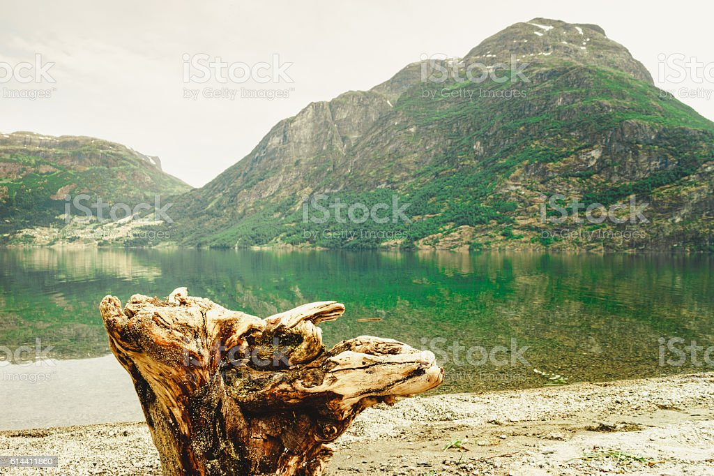 Mountains and lake in Norway, stock photo
