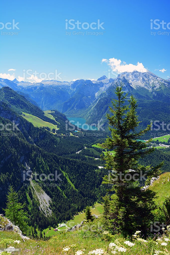 Mountains and Lake Konigssee in the bavarian Alps stock photo