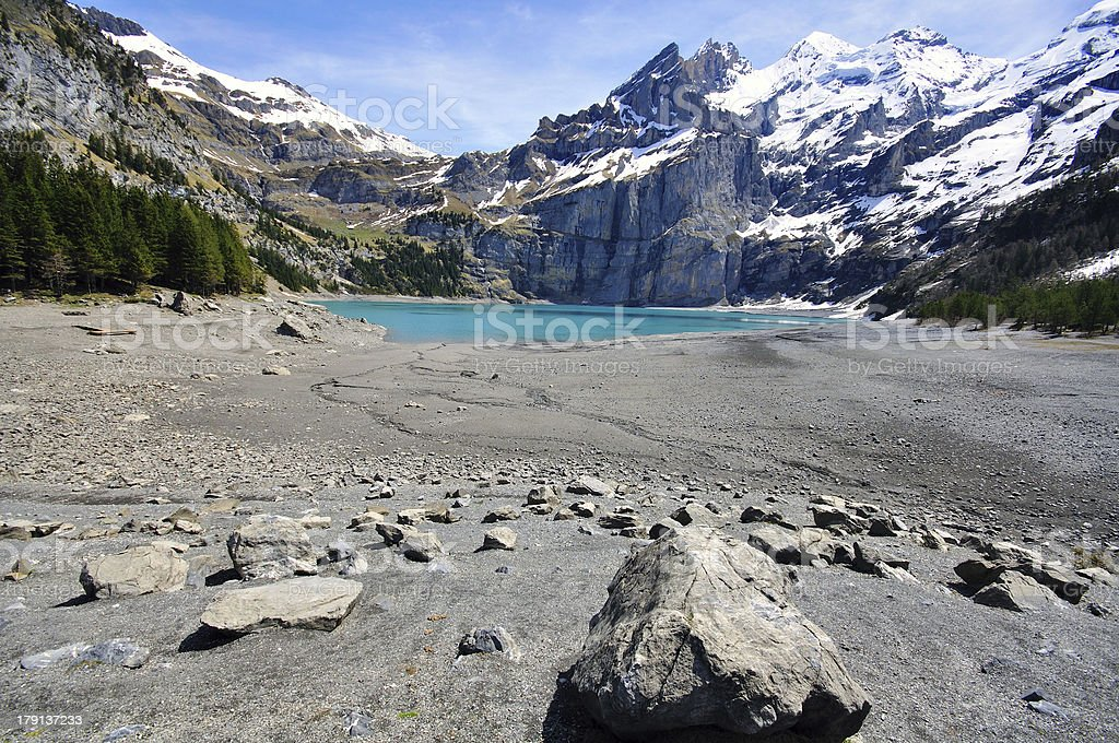 Mountains and lake stock photo