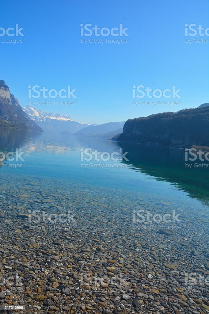 Mountains and Lake  Switzerland stock photo