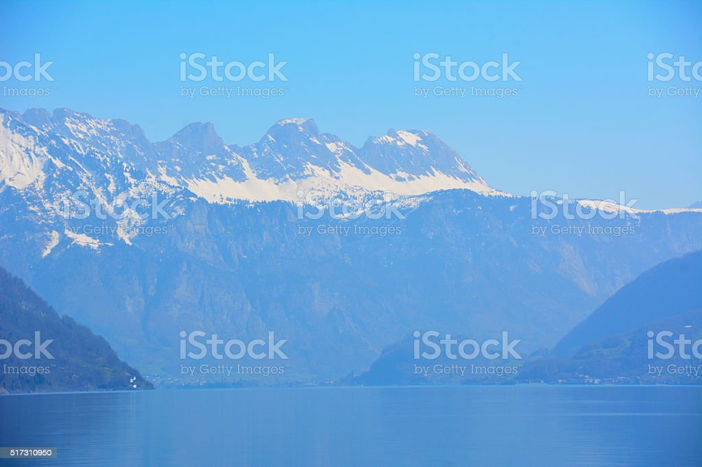 Mountains and Lake  Walensee, Switzerland stock photo