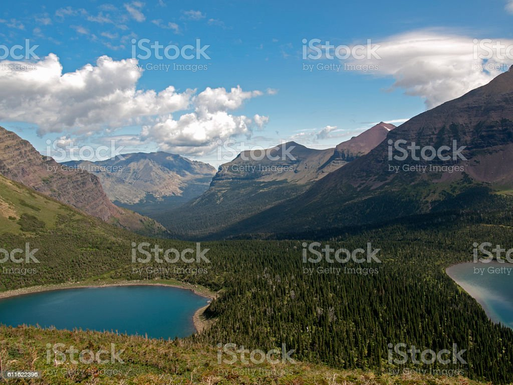 Mountains and Lakes, Glacier National Park stock photo