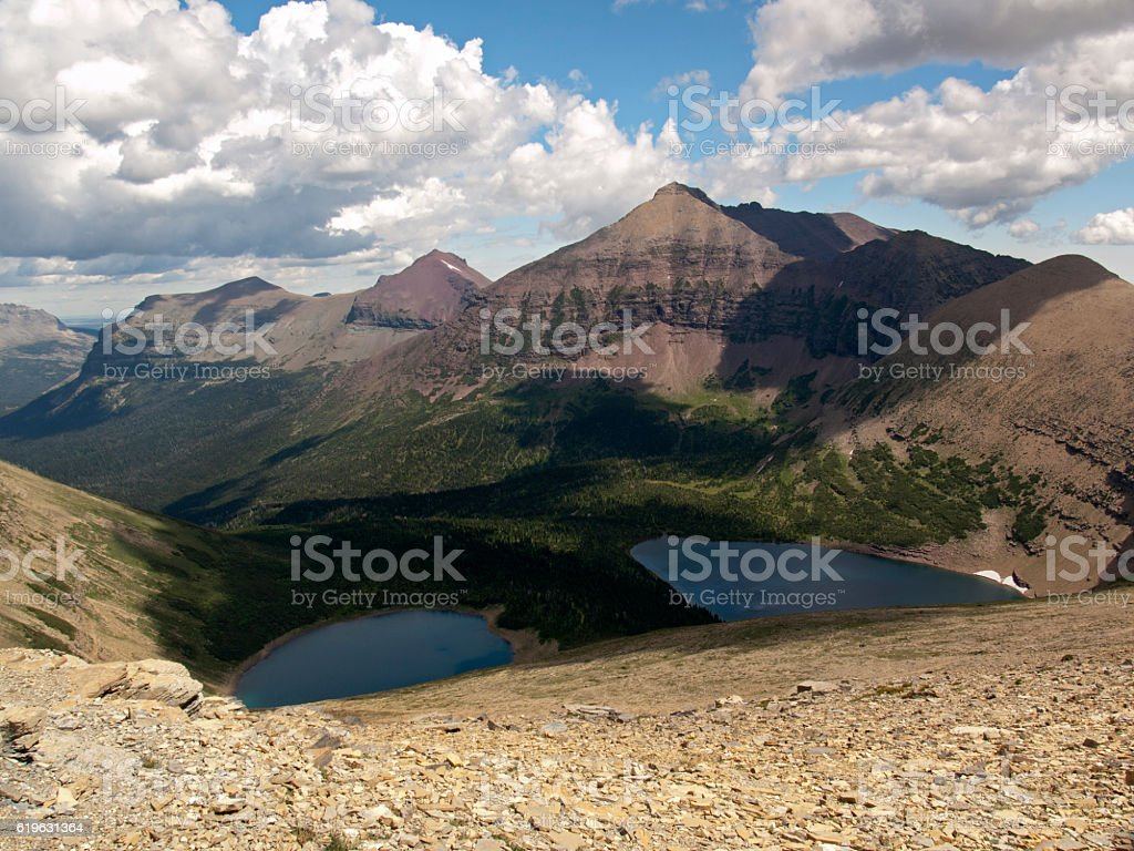 Mountains and Lakes in Glacier National Park stock photo
