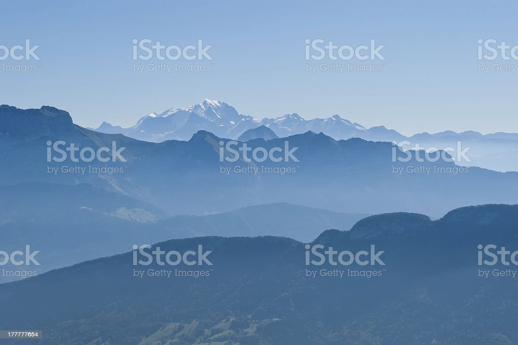 Mountains and Mont Blanc view from Cret de Chatillon, France stock photo