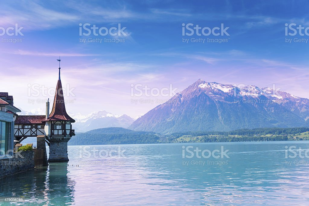 Mountains and Oberhofen stock photo