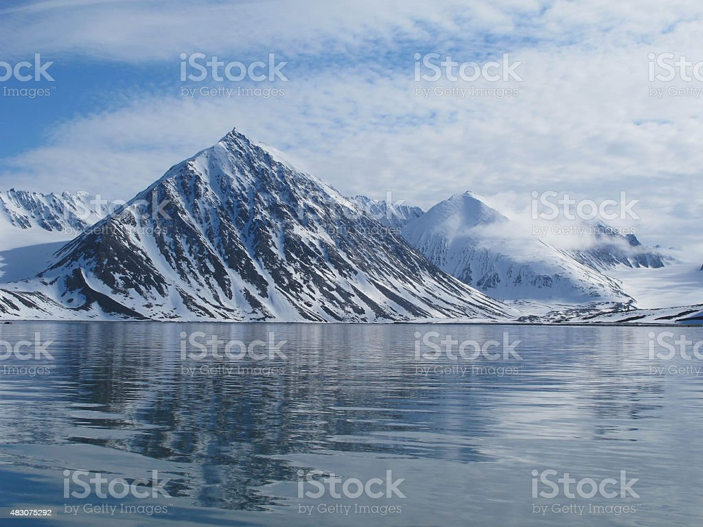 Mountains and Ocean stock photo