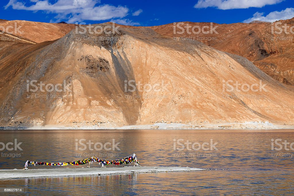 Mountains and Pangong tso (Lake), Leh, Ladakh, India stock photo
