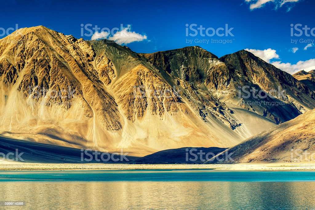 Mountains and Pangong tso (Lake), Leh, Ladakh, Jammu Kashmir, India stock photo