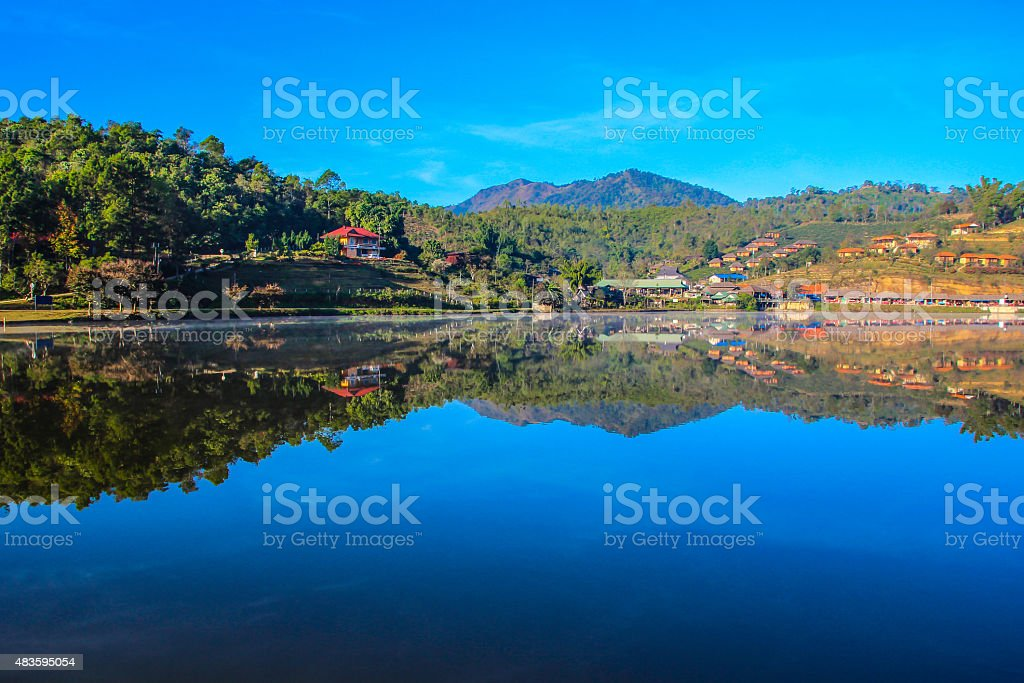 mountains and river royalty-free stock photo