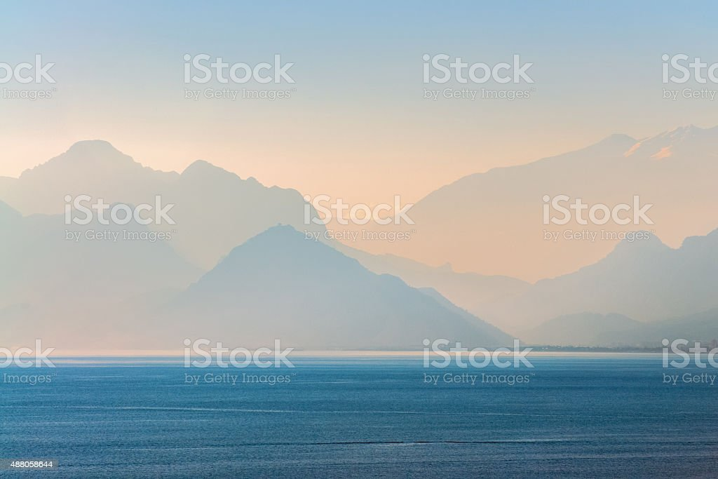 Mountains and Sea stock photo