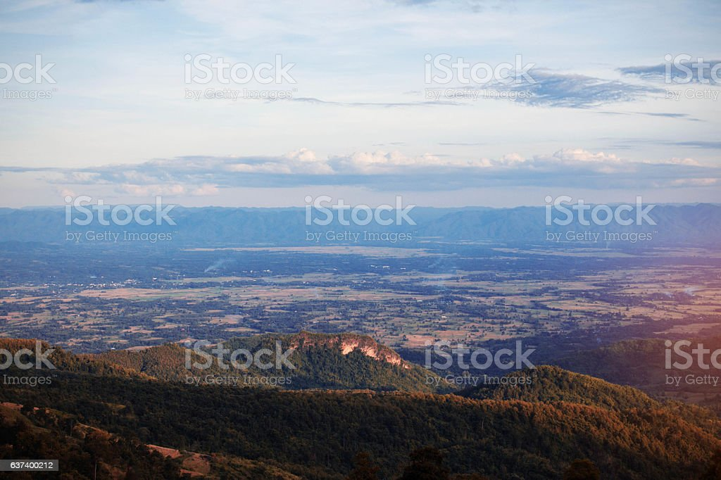 mountains and sky in the evening. stock photo