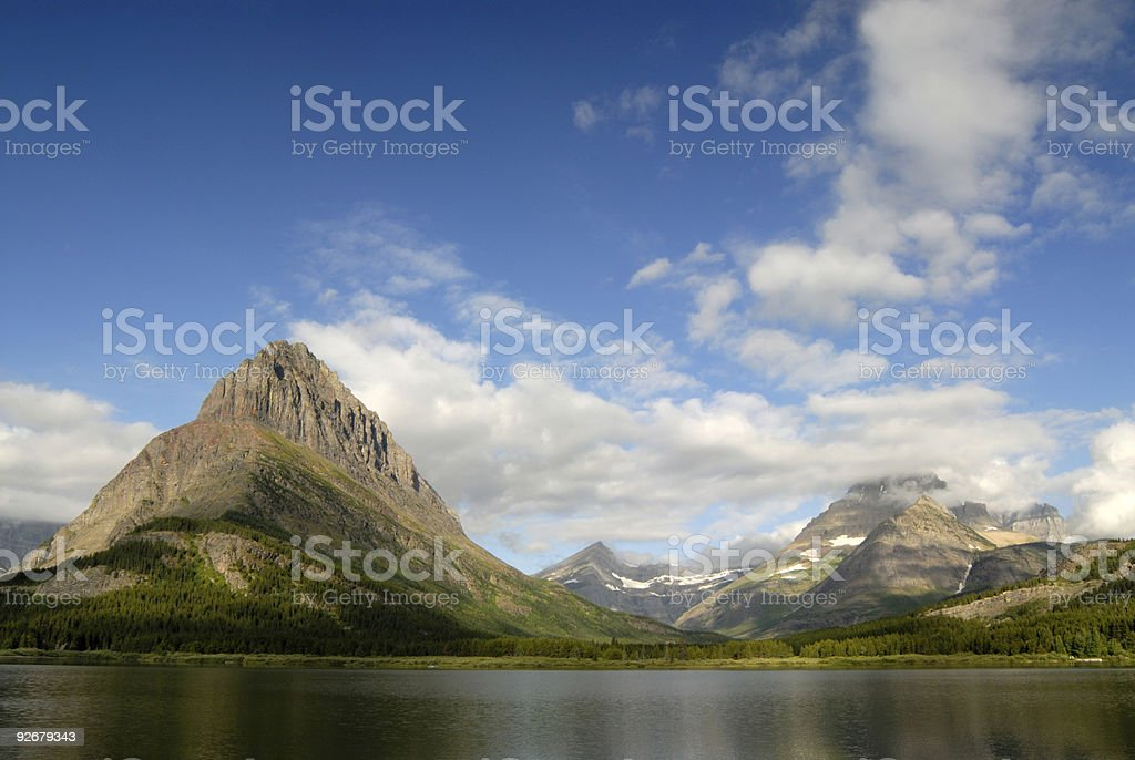 Mountains and Swiftcurrent Lake royalty-free stock photo