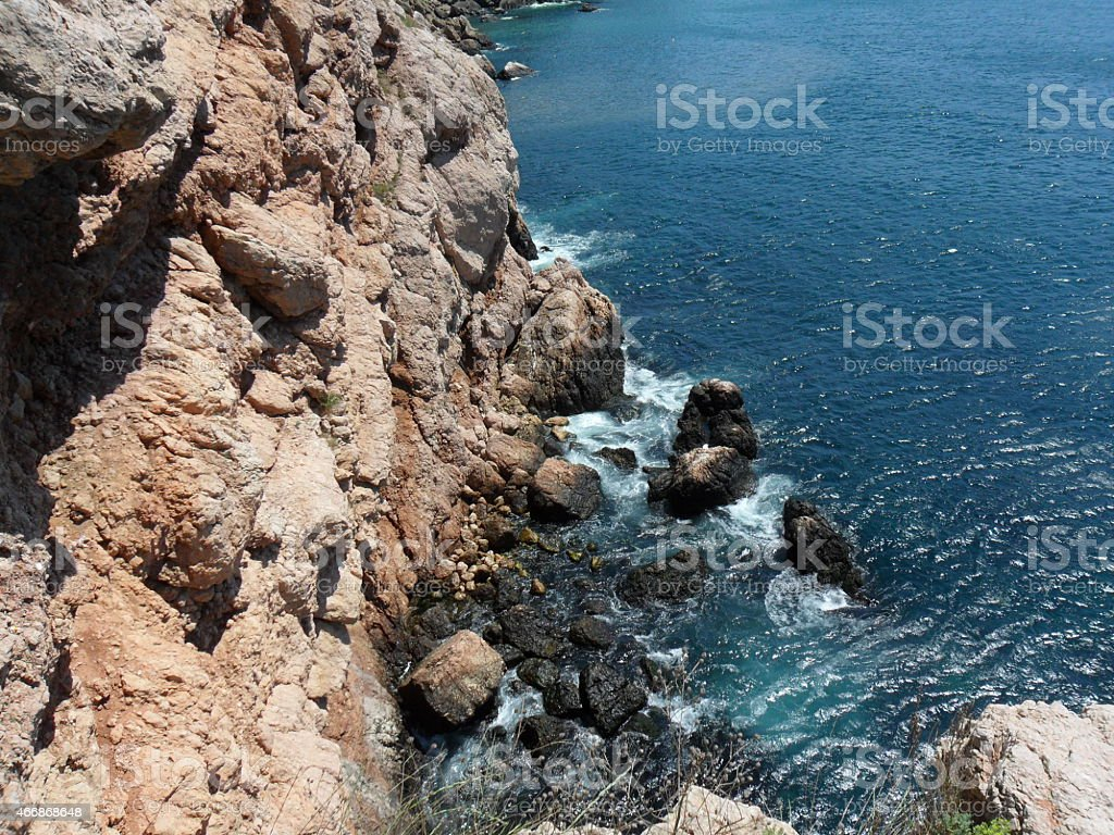 Mountains and the sea near to the city of Balaklava stock photo