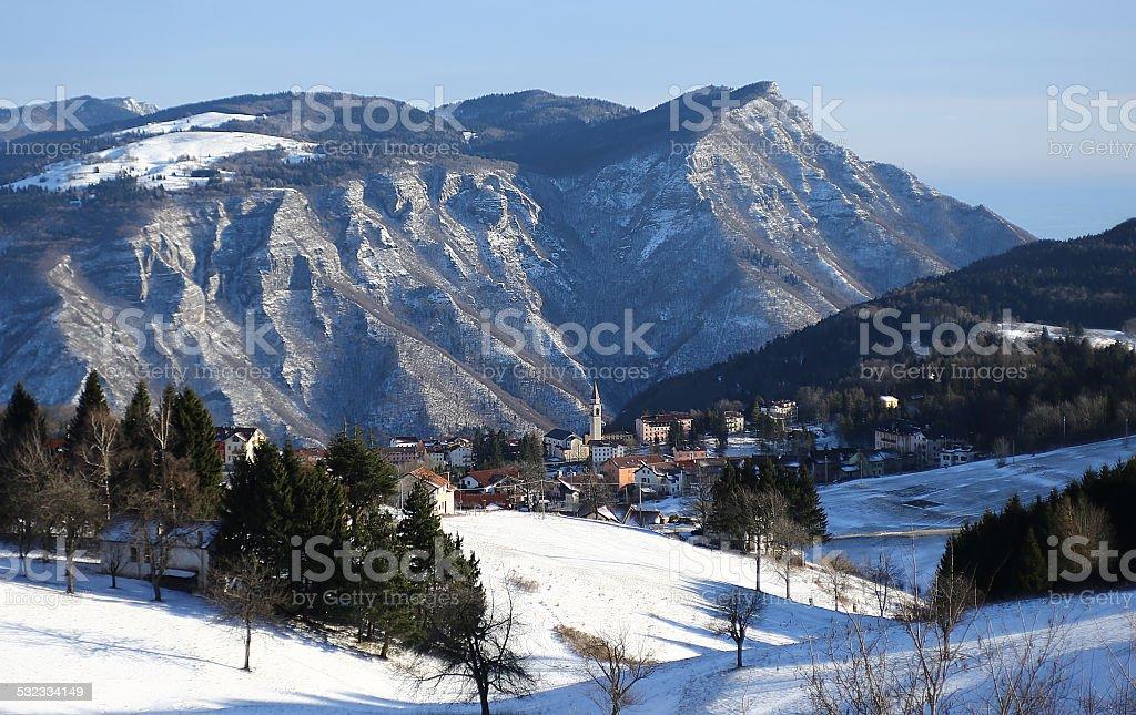mountains and the village of TONEZZA del Cimone, Italy stock photo