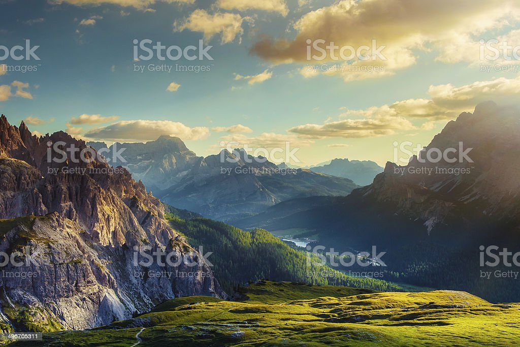 Mountains and valley at sunset stock photo