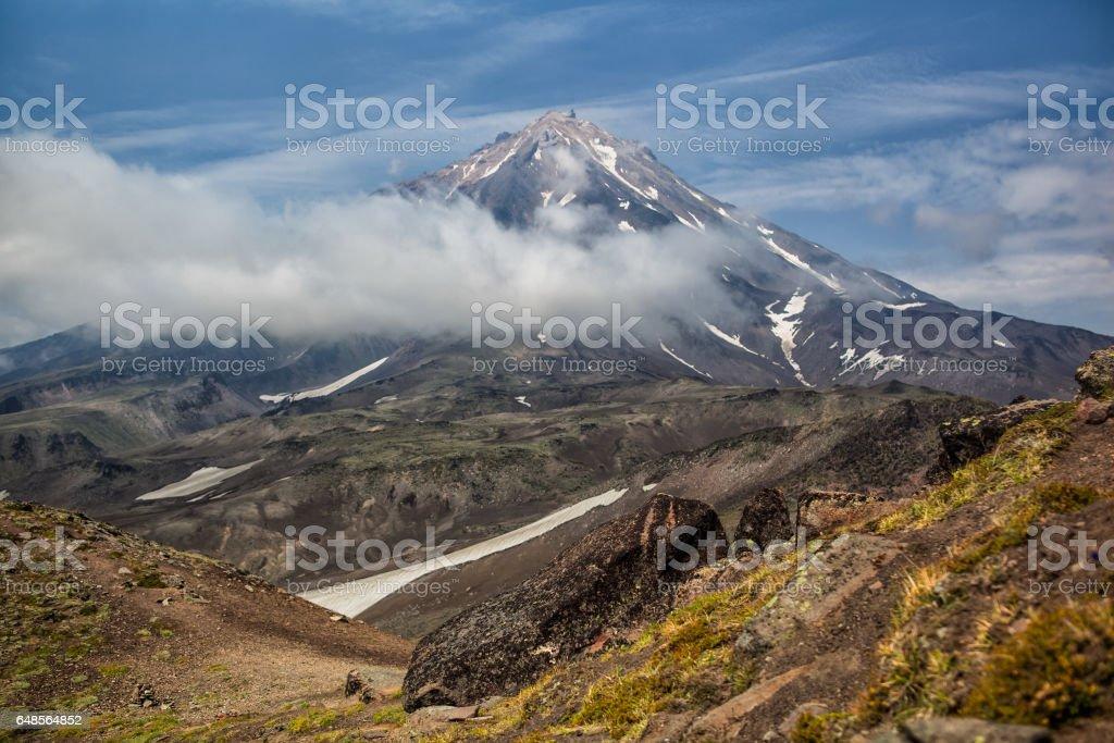 Mountains and volcanoes. Beautiful landscape of Kamchatka Penins stock photo