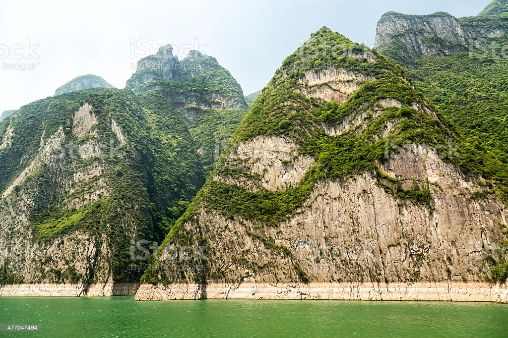 Mountains and Yangtze River in Wushan County, China stock photo