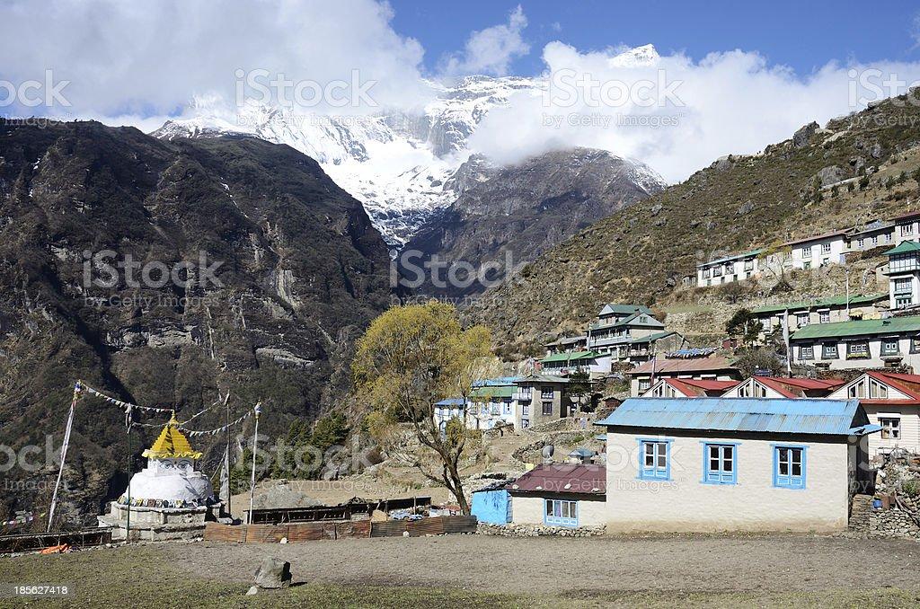 Mountains around sherpas capital - Namche Bazar, Nepal, Himalayas, Asia royalty-free stock photo