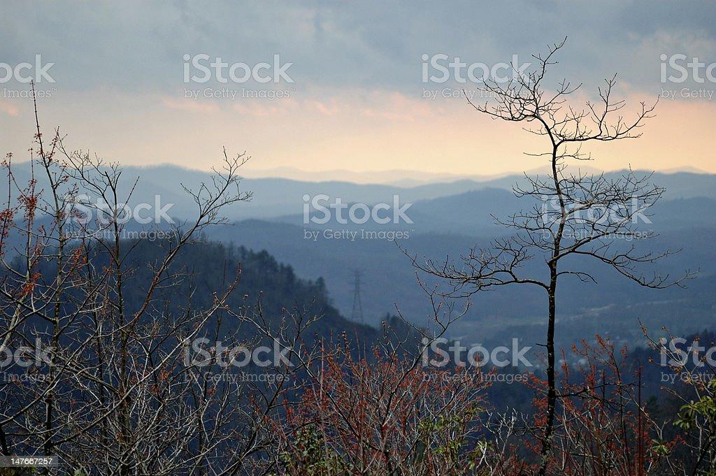 Mountains at dusk royalty-free stock photo