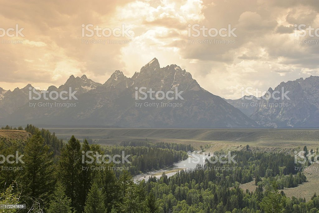 Mountains At Grand Teton National Park, Wyoming stock photo