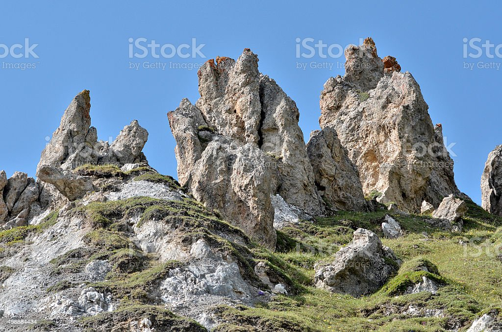 Mountains at La Plagne in France stock photo