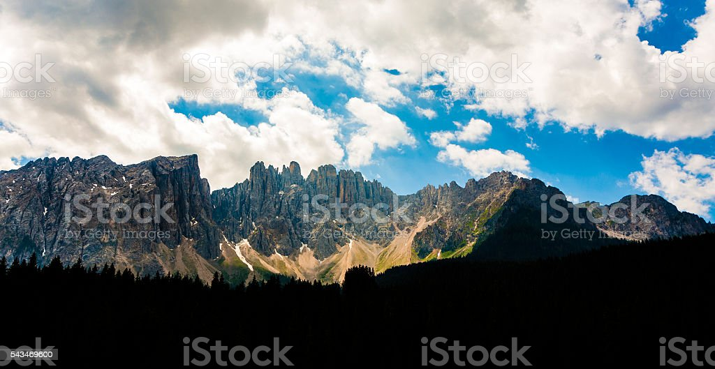 mountains at Latemar massif at Dolomites in the Alps stock photo