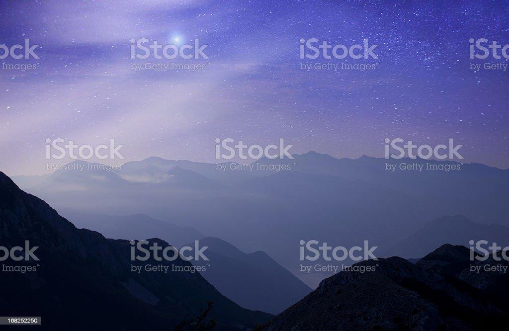 Mountains at night under milky way stars royalty-free stock photo