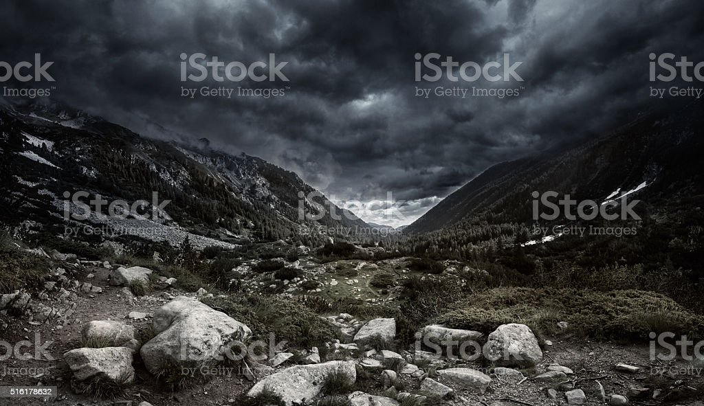 Mountains at storm stock photo