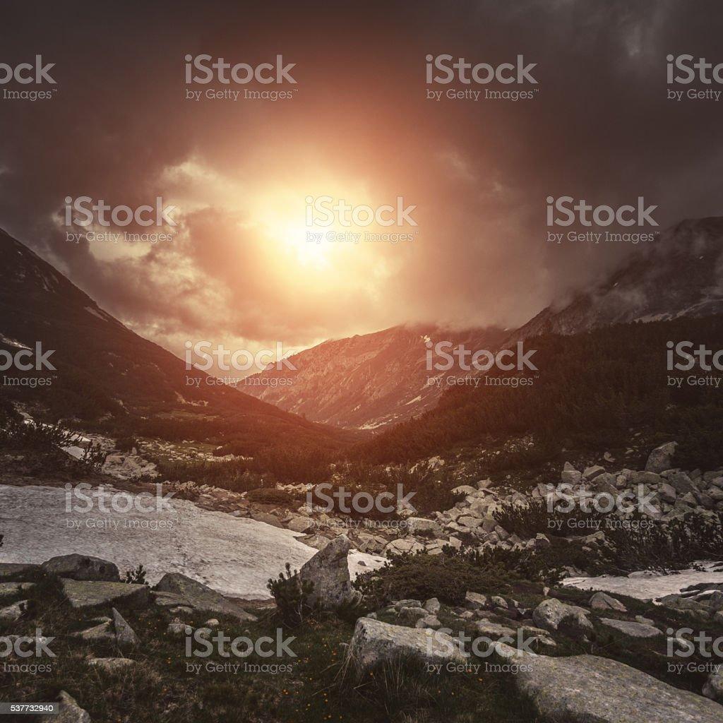 Mountains at sunset stock photo