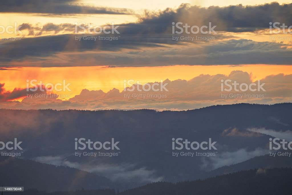Mountains at the sunset royalty-free stock photo