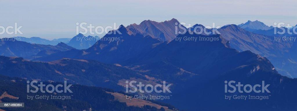 Mountains Augstmatthorn, Brienzer Rothorn and Wilerhorn stock photo