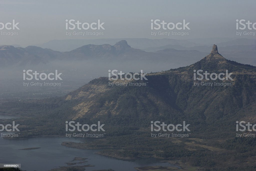 Mountains Covered in Fog stock photo