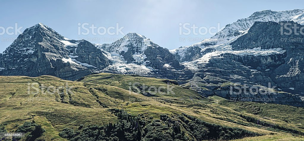 Mountains: Eiger, M?nch and Jungfrau stock photo