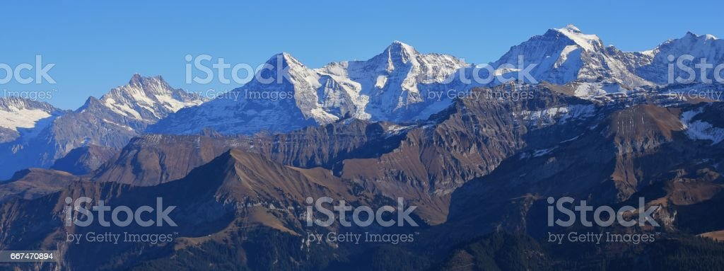 Mountains Finsteraarhorn, Eiger, Monch and Jungfrau stock photo
