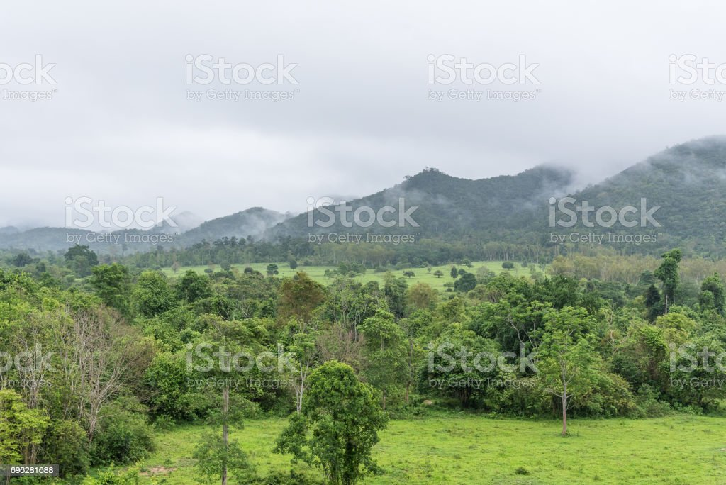 Mountains, forest and clouds in the sky. stock photo