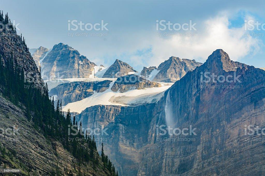 Mountains, glaciers, waterfallss, Banff National Park, Canada stock photo