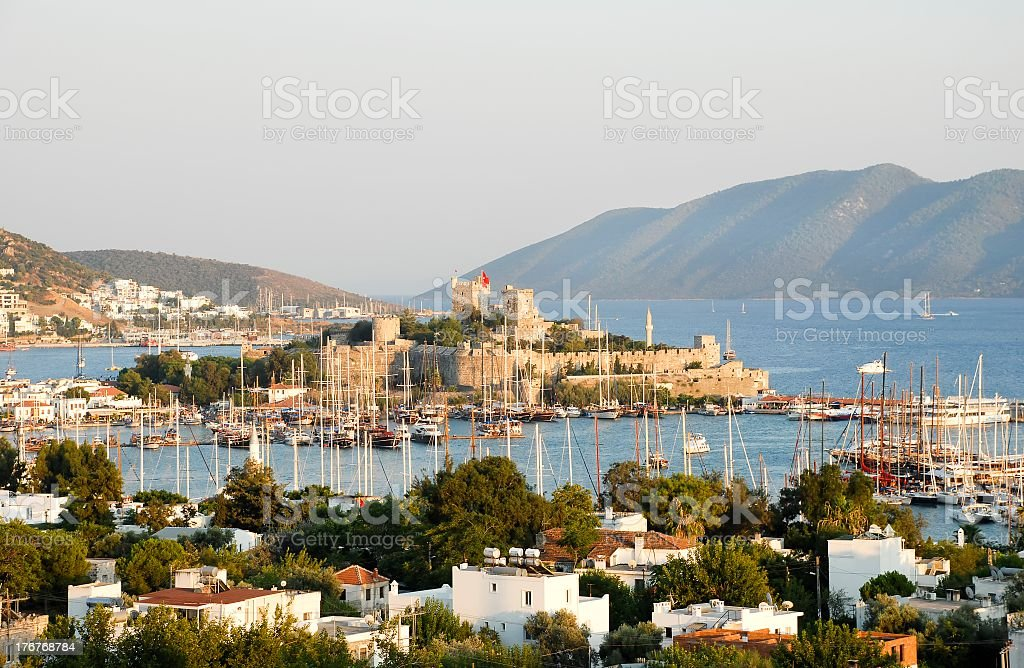 Mountains, harbor and town landscape of Bodrum, Turkey stock photo