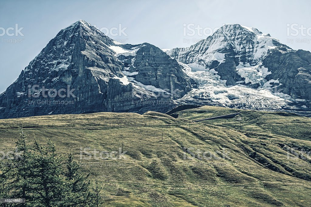 Mountains in Bernese Alps: Eiger and Mönch - II stock photo