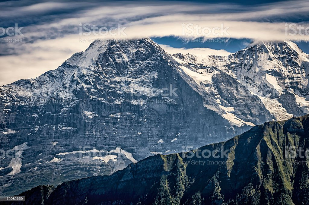 Mountains in Bernese Alps: Eiger and M?nch stock photo