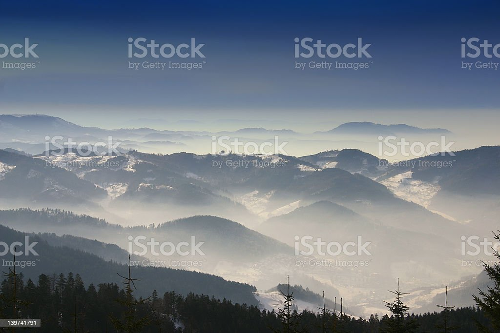 Mountains in fog royalty-free stock photo