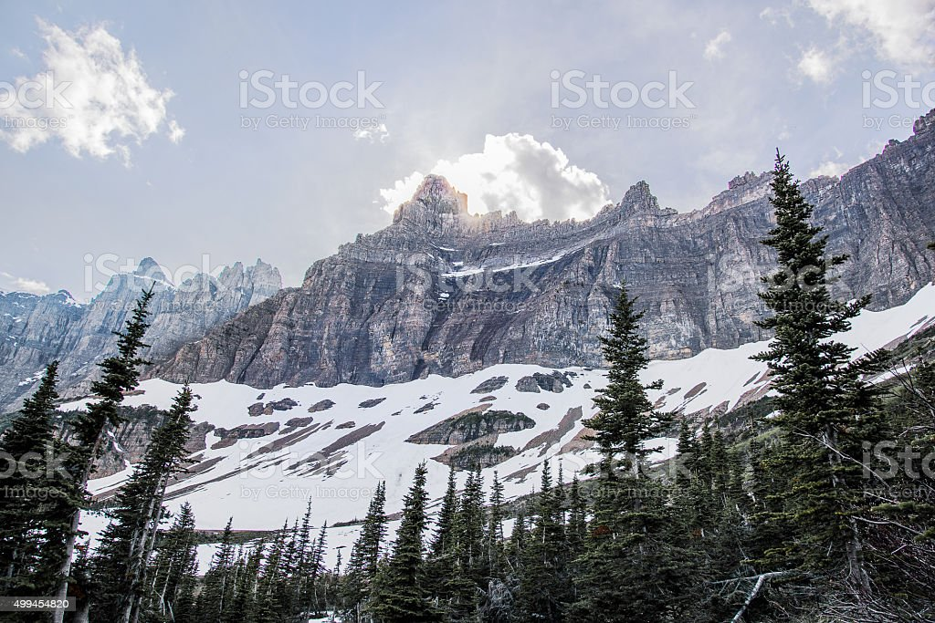Mountains in Glacier National Park stock photo