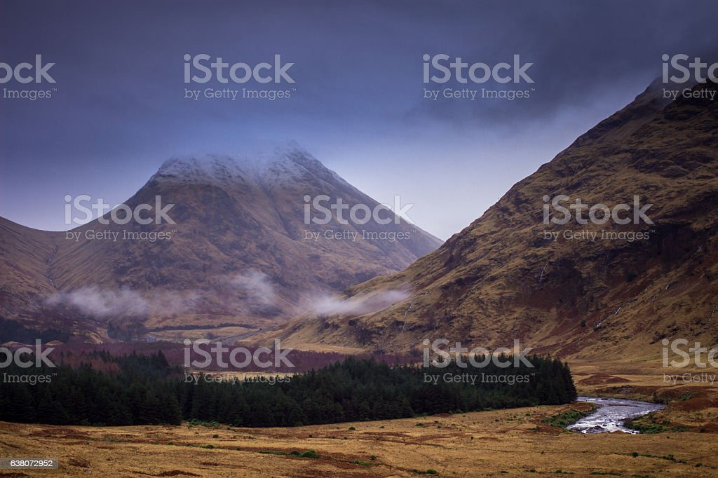Mountains in Glen Etive, Scottish Highlands stock photo