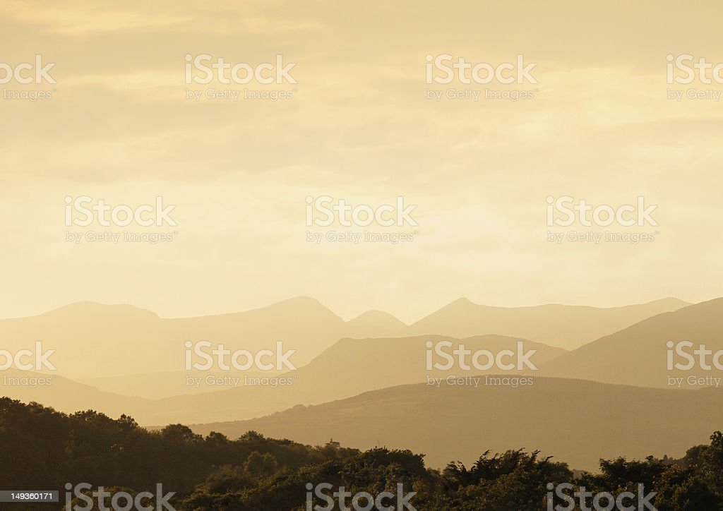Mountains in Ireland at sunset royalty-free stock photo