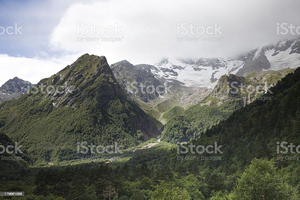 Mountains in Kussu, North Ossetia stock photo
